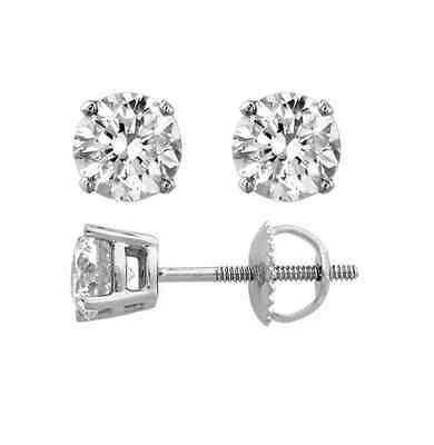 1.50 CT Round Cut Solitaire Stud Earrings Solid 14k White Gold Screw Back