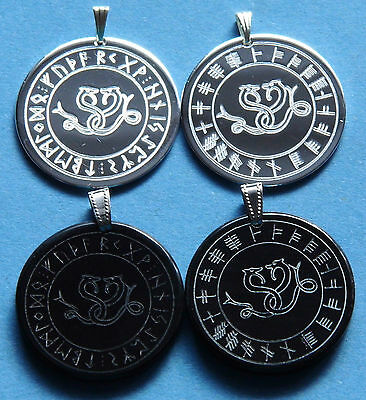Celtic Snakes in runen- or oghamkreis, water buffalo horn and Silver Plated