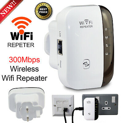 300Mbps Wireless-N Wifi Repeater Extender Router Range Signal Booster UK Plug