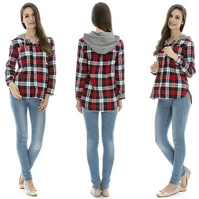 Maternity clothes Plaids Breastfeeding tops with Hoodie fall&winter nursing tops