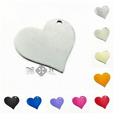 6 x Anodized Aluminium Blank Heart Stamping Tags / Pendants 25mm x 28mm