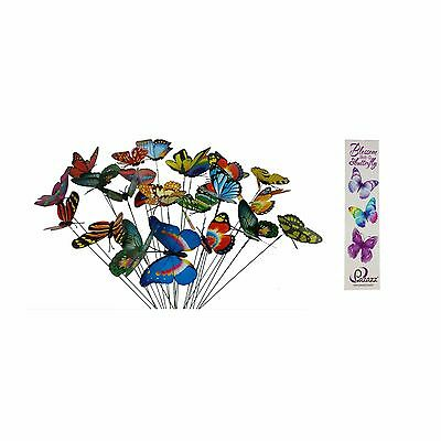 Colourful Garden Plastic Butterflies On Sticks With Butterfly Bookmark