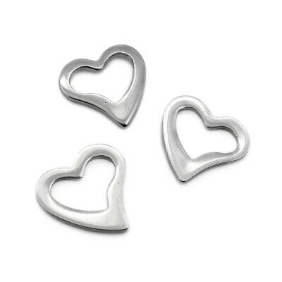 10 x Stainless Steel 15mm Flat Heart Washer Charms / Linking Rings Dark Silver