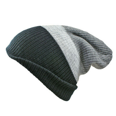 Unisex Mens Ladies 4 In 1 Fully Reversible Stripe Slouch Winter Beanie Skull Cap