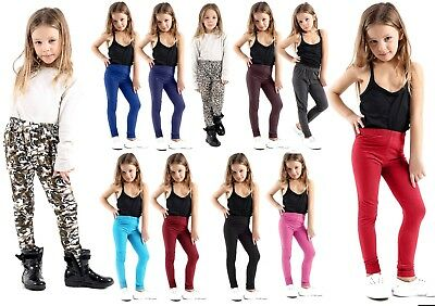 Girls KIDS  Plain Leggings Trousers Full Crop Stretch printed Legging 45% Cotton