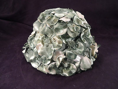 Vintage Ladies Hat w/ Gorgeous Millinery Flowers -- Greens & Whites -- Lovely!