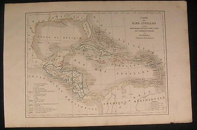 Caribbean Antilles Island Central America c.1835 rare antique engraved map