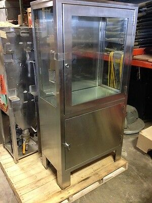 "STAINLESS STEEL MEDICAL CABINET: 30"" x 60"" x 16"" WITH GLASS DOOR"