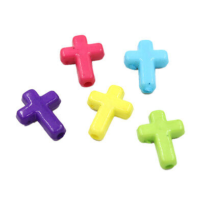 100x Hot Selling Mix Colorful Acrylic Plastic Cross Charms Spacer Beads Loose L