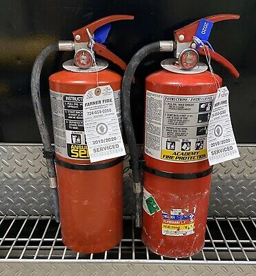 SET OF (2) REFURBISHED 10lb ABC FIRE EXTINGUISHER CERTIFIED TAG  (SCRATCH/DIRTY)