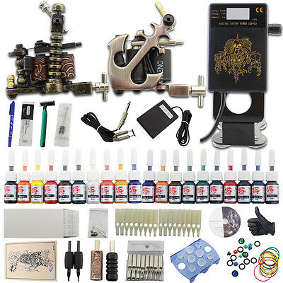 Complet Tattoo Kit de Tatouage Machine à Tatouer 20 Ink Power Supply Set DJ25