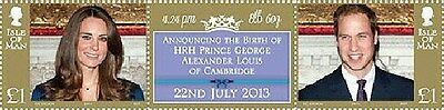 HRH Prince George Alexander Louis of Cambridge Isle Of Man set of 2 stamps,label