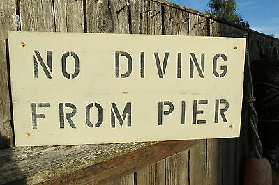 18 Inch Wood No Diving From Pier Hand Made Sign Nautical Seafood (#s582)