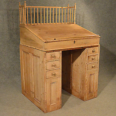 Antique Standing Desk Study Office Clerks Bureau Workspace Victorian Pine c1900
