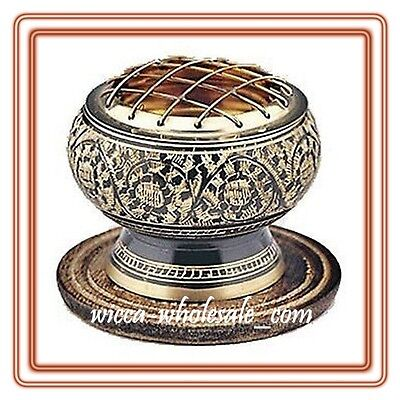 "2.5"" BLACK Decorated BRASS Charcoal Screen Incense Resin Burner FREE SHIP !!"