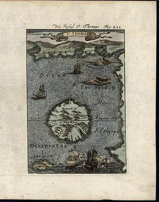 Africa Sao Tome Island Bight of Bonny Archipelago 1719 antique hand color map