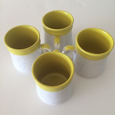 Coffee Mugs - Vintage Pottery 4 Piece White w/ Yellow Dripped Trim Made in Japan
