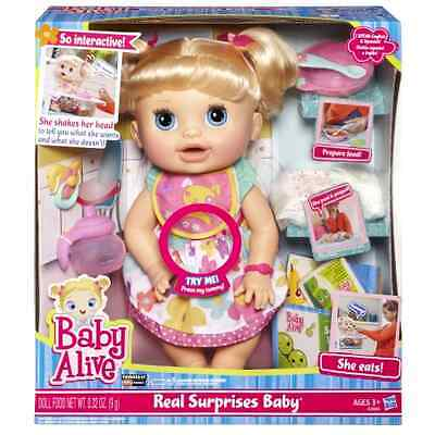 Baby Alive Doll Real Surprises Interactive Talking English Spanish Blonde Food
