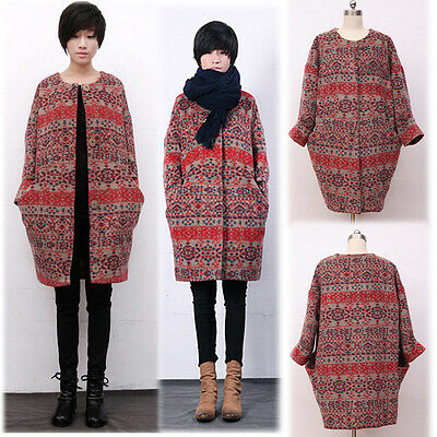 Cocoon Style Coat Jacket Trench Poncho Wool Blend Comfy Warm Trendy XS/S/M/L