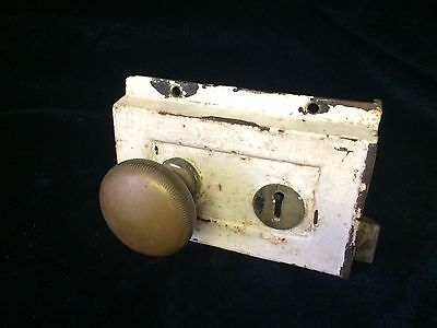 Victorian  Antique Cast Iron Box Lock , Brass Door Handles Architectural Salvage