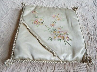Antique Silk w Hand Painted Flowers Handkerchief or Lace Cozy Keeper