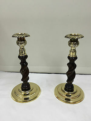 Pair Antique Wooden Barley Twist Candlesticks