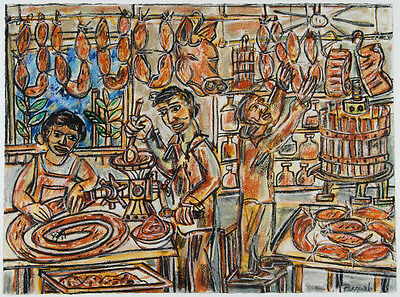 Pasquale GIARDINO ORIGINAL-'The Deli' - Pastel on paper Framed- signed by artist