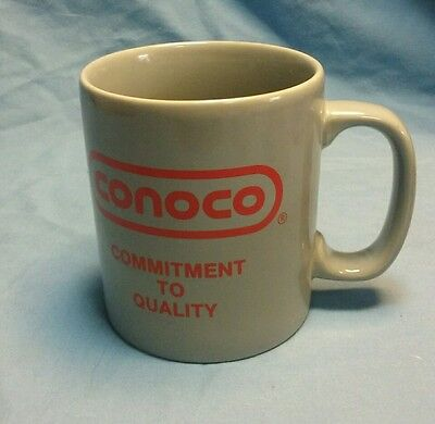 """Grey Conoco oil """"commitment to quality"""" coffee cup made by Kilncraft of England"""