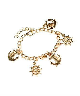 New Gold Color Chain Anchor and Ship Wheel Charm Bracelet Fashion Jewelry