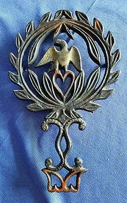 Early Cast Iron Eagle Trivet American USA Olive Branches Snake Painted Antique