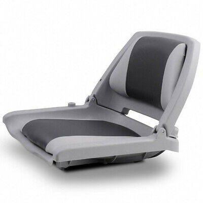 Folding Boat Seats Marine Deluxe Grey Black All Weather/Charcoal With Swivel