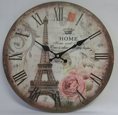 34cm Rustic French Provincial Country Wall Clock Eiffel Tower & Home Sweet Home