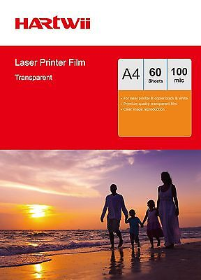 60 Sheets Overhead Projector OHP Film Acetate Clear A4 For Laser Printer Hartwii