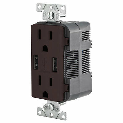 Leviton Combination Duplex Receptacle & USB Charger, 15A, Brown (T5632-B)