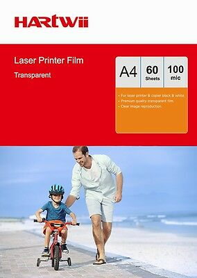 60 Sheets Transparency OHP Film Acetate Clear A4 For Laser & Copier Hartwii UK