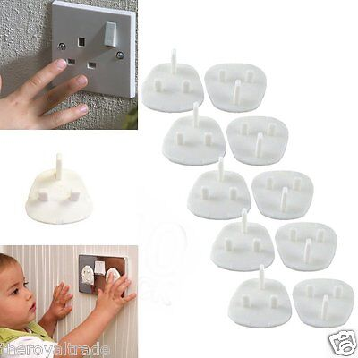 10 x Mains Socket Covers - Baby Children Saftey 3 Pin Plug In Covers