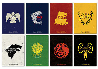 Game Of Thrones House Banner Tv Series Movie Postcard Set 8pcs