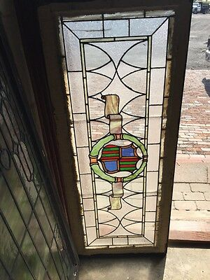 Sg 262 Antique Stained Glass Window Center Crest And Ribbon Design