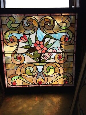 Sg 265 Antique Victorian Flower Pot Landing Window With Jewels  And Rondell's