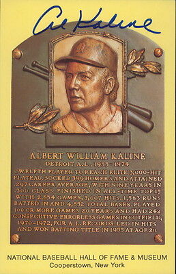 AL KALINE - AUTOGRAPH HALL OF FAME POSTCARD w/ ICEBOX LOA