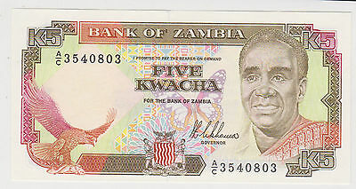 (WN-12) 1989 Zambia 5 Kwacha bank note UNC (A)