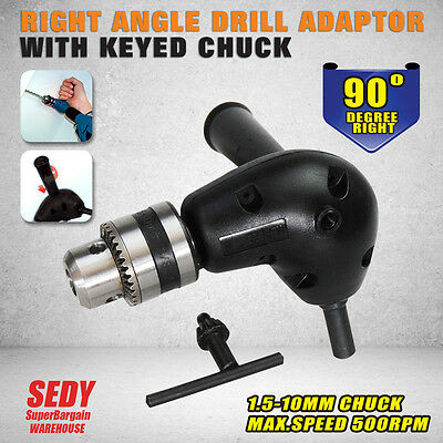 New Right Angle Drill Attachment 90 Degree Handle Adaptor with keyed Chuck 94138