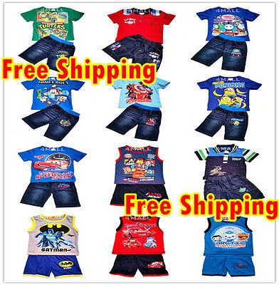 Kids Boys Summer T-shirt Denim / Cotton Shorts Outfits Set Sz Short Sleeve Polo