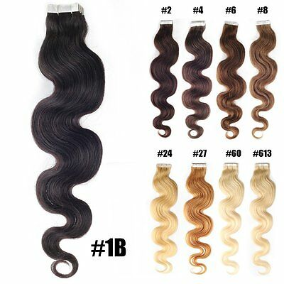 """20"""" Real Human Hair Extensions Super Tape In Hair Boby Wavy Black Brown Blonde"""