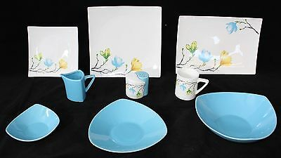 6 People Blue Flower 35 Piece Dinner Set