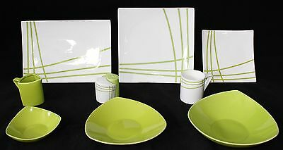35 Piece Dinner Set in Green Line for 6 people