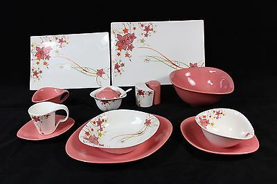6 Person Dinner Set in Pink Flower 45 pieces
