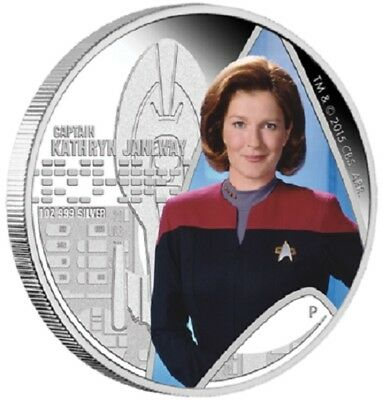 2015 $1 Star Trek Voyager - Kathryn Janeway - 1 oz Silver Proof Coin- Perth Mint