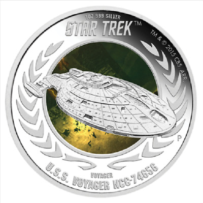 2015 $1 Star Trek:Voyager-U.S.S. Voyager NCC-74656-1 oz Silver Coin Perth Mint