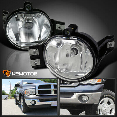 02-08 Dodge Ram 1500 2500 3500 Pickup Clear Bumper Driving Fog Lights Kit
